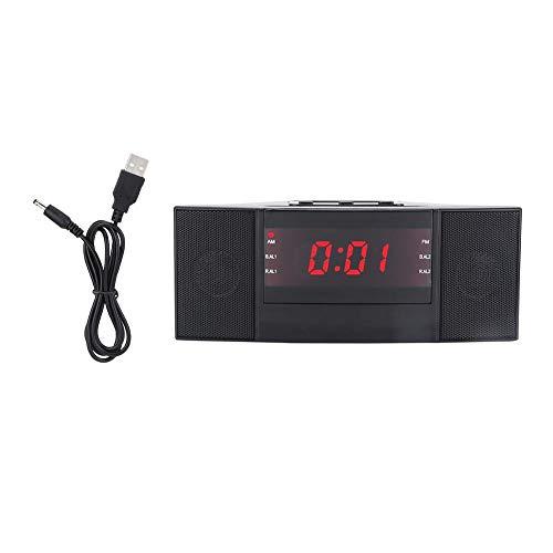 Bicaquu Alarm Clocks,LED Digital AM/FM Alarm Clock Buzzer Radio Snooze Sleep Timer with USB Charging