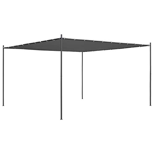 vidaXL Gazebo with Flat Roof Sturdy Durable Garden Backyard Outdoor Canopy Shelter Party Pop Up Shelter Tent Patio Pavilion 4x4x2.4m Anthracite