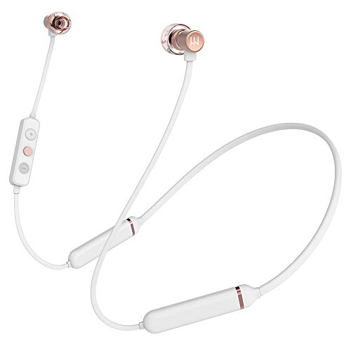 Light Harmonic Bluetooth Neckband Headphones w/Mic for iPhone/Laptop/PC/Computer.HD Sound for Video Conferencing. IPX7 Earphones, 12H Playtime,6mm Balanced Armature & Dynamic Dual Drivers.(White)