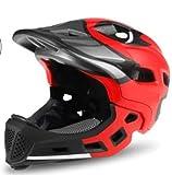 BMX Casco Infantil Integral para Ciclismo Enduro. Totalmente Ajustable con Mentoner Desmontable. Tamaño Ajustable Entre 48-58 cm (Rojo-Pato, 52-56cm)