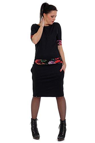 langes Kleid DREI Elfen schwarz Damen Knielang Rock Kurzarm jerseykleid - schwarz Mystic Rose XL
