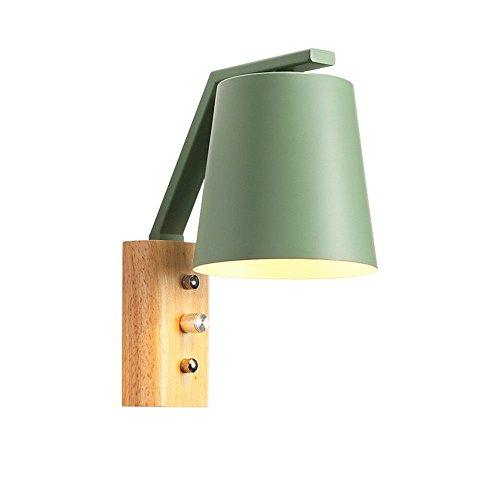 Pouluuo Applique nordique en bois chambre minimaliste moderne balcon chevet lampe murale en bois massif éclairage (8C71) / poudre