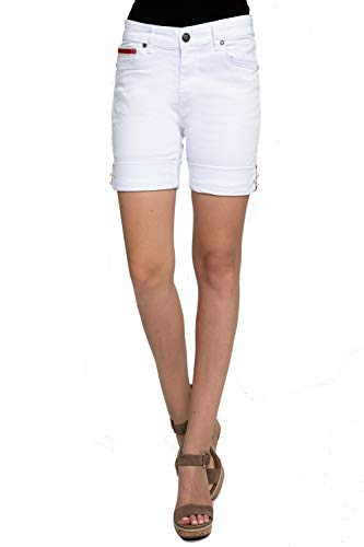 Zhrill Damen Shorts Jeans 5 Pocket Vintage Slim Fit Nova Shorts, Farbe:W1021 - White, Größe:W28 / L7