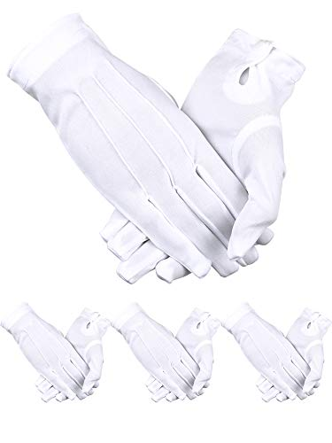 Sumind Uniformhandschuhe, Elastan, 4 Paar Handschuhe, Handschuhe für Herren, Polizei, Smoking, Wachparade, Kostüm -  Weiß -