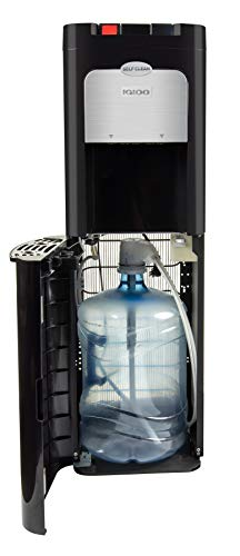 Igloo IWCBL5OSCLD1CHBKS Stainless Steel Hot & Cold Ozone Self-Cleaning Water Cooler Dispenser, Holds 3 & 5 Gallon Bottles, No Lift Bottom Loading, Perfect For Homes, Kitchens, black, stainless