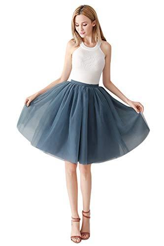 MisShow Damen Mädchen Kurz Retro Petticoat Rock 1950er Vintage Tutu Ballett Unterkleid Grau A