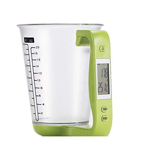 Échelles Électronique Tasses À Mesure Multi fonction avec écran LCD Portable pour Cuisson lait poudre Corps de tasse de PC, poignée d'ABS,Green