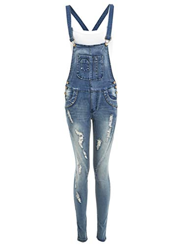 Neuer Frauen Skinny Stretch Latzhose, Denim blau, Sizes 8 to 14 - Denim Blau, 44