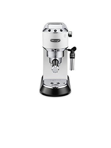 De'longhi Dedica - Cafetera de Bomba de Acero Inoxidable para Café Molido o Monodosis, Cafetera para Espresso y Cappuccino, Depósito de 1.3 Litros, Sistema Anti-goteo, EC685.W, Blanco