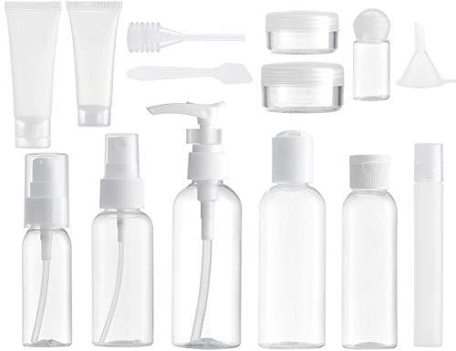 MYLL 14 Pezz Bottigliette da Viaggio Set per Aereo (Max.100ml), Contenitori Liquidi per Cosmetici - Kit de Porta Liquidi Flaconi Accessori (Trasparente)