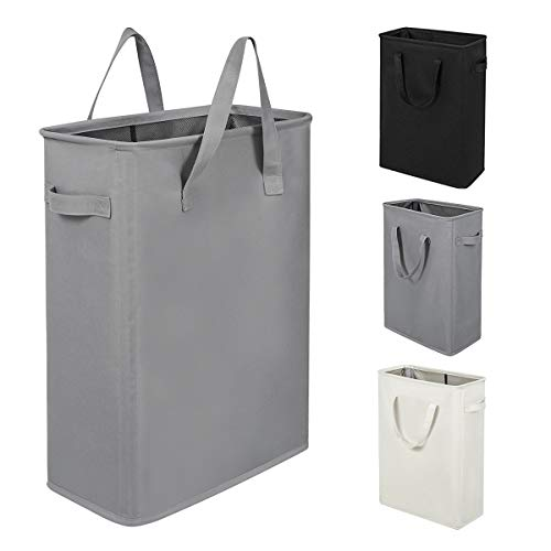 ZERO JET LAG 45L Slim Laundry Hamper with Handles Thin Laundry Bin Collapsible Dirty Clothes Basket Narrow Laundry Bag Foldable Dirty Hamper21 inchesGrey