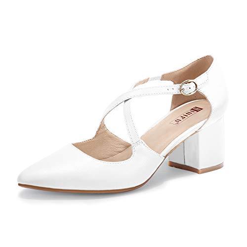 IDIFU Women's Lynn Dress Low Heeled Pumps Closed Pointed Toe Block Chunky Heel Cross Strap Wedding Bridal Party Office Shoes (White Pu, 8MUS)