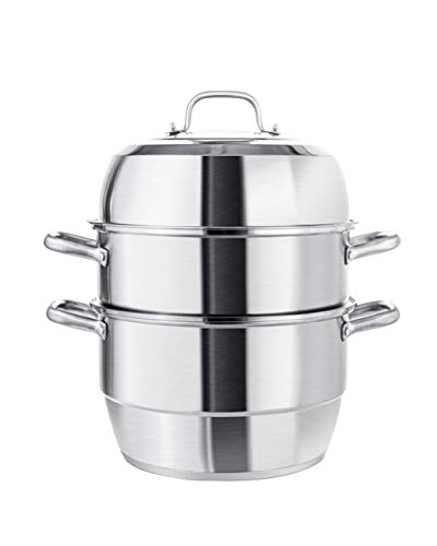 VENTION Heavy Duty Stainless Steel Steamer Pot, Triple-Tier Food Grade Stacked Stream Pot, 15 Quarts