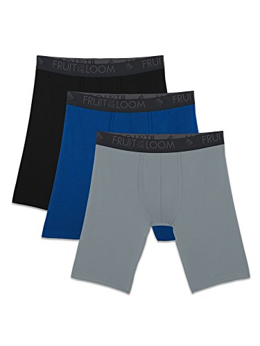 Fruit of the Loom Men's Breathable Underwear, Micro Mesh - Assorted Color - Long Leg Boxer Brief, 2X-Large