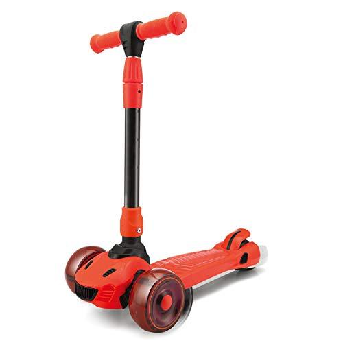 WFSH Scooter Infantil One Second Scooter Plegable y Torcido 2-8 años ensanchado Grande silencioso Rueda Intermitente (Color : Red)