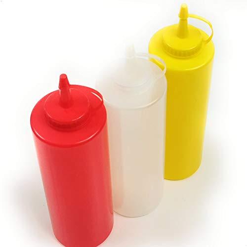 Kerafactum 3 Saucenflasche Quetschflasche 700 ml Spritzflaschen für Küche BBQ Grill Soßen Flasche für Senf Ketschup Grillsoße Dressing Flasche Saucenspender Squeeze Bottle Plastik Spender Mixed
