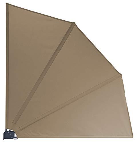 GRASEKAMP Qualität seit 1972 Balkonfächer Premium 140x140cm Taupe mit Wandhalterung Trennwand Sichtschutz