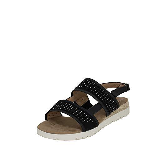 Fitters Footwear That Fits Damen Sandale Julia PU Sandale mit Glitzersteinen Übergröße (43 EU, schwarz)