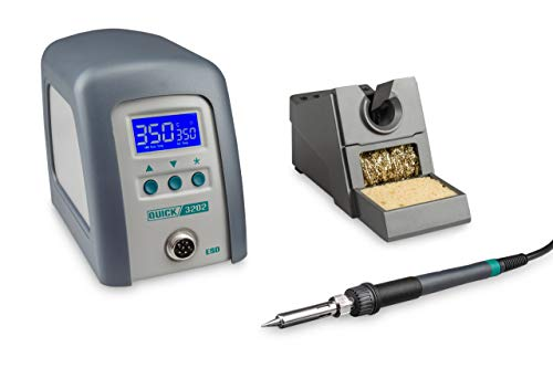 Quick 3202 Digital Regelbare ESD Hochfrequenz-Lötstation 90 Watt inkl. Lötkolben mit 1 mm Lötspitze und Zubehör/ 100°-550°C/Kalibrierbar/ 3 Festspeicher/Auto-Standby/Passwort - Schutz