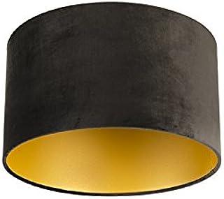 QAZQA Algodón Pantalla terciopelo negro 35/35/20 interior dorado, Redonda/Cilíndrica Pantalla lámpara colgante,Pantalla lámpara de pie
