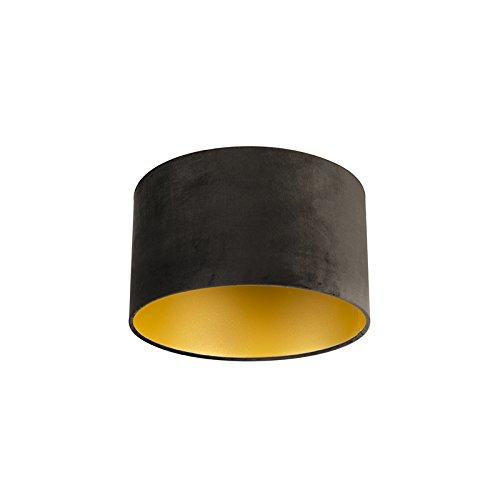 QAZQA Baumwolle Velour Lampenschirm schwarz 35/35/20 mit Gold/Messingener Innenseite, Rund gerade Schirm Pendelleuchte,Schirm Stehleuchte