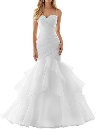 Dreammaking Herzenform Brautkleider Hochzeitskleider Prinzessin Organza Brautmode Meerjungfrau Kleid Lang Standesamt Weiß Elfenbein