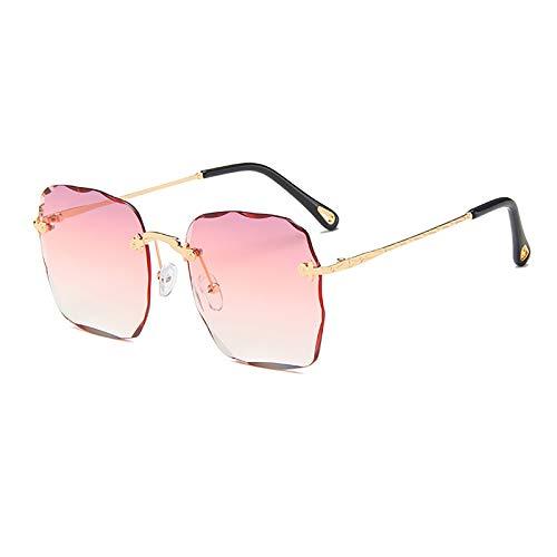 QFSLR Gafas de sol de color degradado para mujer, diseño sin marco, protección UV400, adecuado para viajes de compras en la playa, C