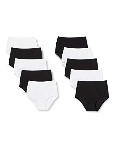 Iris & Lilly Damen Unterhosen aus Baumwolle, 10er-Pack, Mehrfarbig (Schwarz/Weiß), XS, Label: XS