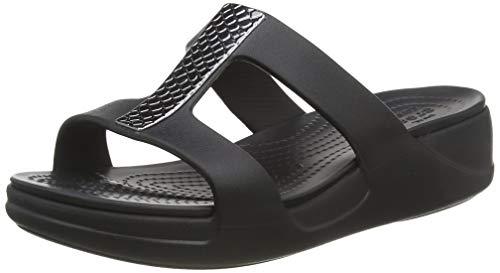 Crocs Damen Monterey Metallic Wedge Sandalen, Schwarz (Dark Charcoal/Black 0gq), 38/39 EU