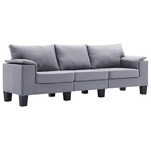 vidaXL Sofa 3-Sitzer Dreisitzer Loungesofa Stoffsofa Polstersofa Sitzmöbel Polstermöbel Designsofa Couch Hellgrau Stoff 198,5x70x75cm Kunststoffbeine