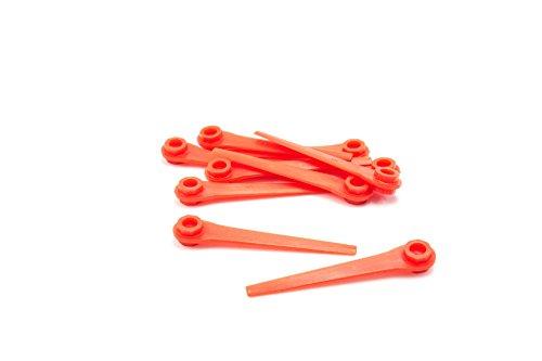 vhbw 10x lame de rechange compatible avec Gardena AccuCut 400 Li (Art.-Nr. 8840-20) cisaille à gazon - rouge, plastique