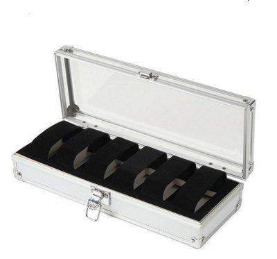 PINGJING 1/6/12Grid Slots Schmuck Uhren Display Aufbewahrungsbox Fall Aluminium Square New 6GRIDS