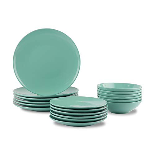 Amazon Basics - Vajilla de gres para 6 personas, color Menta, 18...