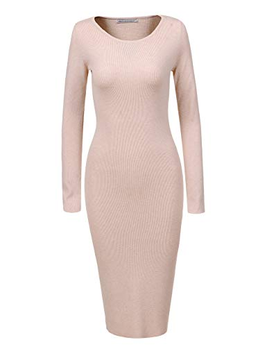 GLOSTORY Womens Long Sleeve Slim Fit Bodycon Pullover Sweater Dresses 2616 (M, Beige)