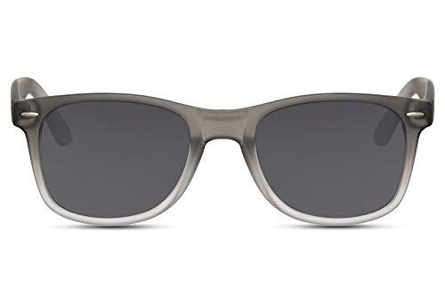 Cheapass Gafas de Sol Clásicas Montura Gris Mate a Blanca con Cristales Oscuros UV400 Hombre Mujer