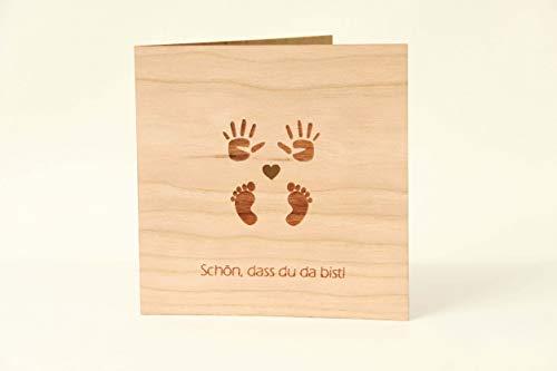 Original Holzgrußkarten Glückwunschkarte Baby Geburt - 100{71ee4c2d6c2295c5be17619194b5a0c232e229b9a95f7daa97848b7891fb7012} Made in Austria - Karte besteht aus Kirschholz - geeignet als Karte zur Geburt, Geburtskarte, Geschenk zur Geburt, Grußkarte, Babykarte uvm.
