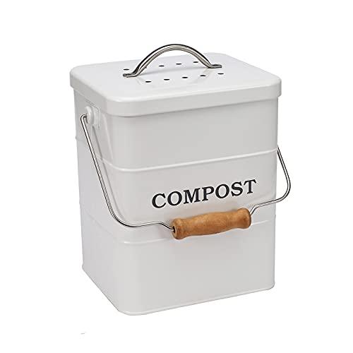 Ayacatz Metall komposter mit Deckel, Küche Bioabfallbehälter ,Arbeitsplatte und Unterschrank Mini Kompostlager,Recycling Lebensmittelabfall Behälter, mit Kohlefilter-(Weiß)
