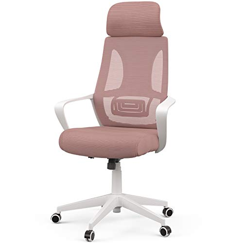 Mecor High-Back Home Office Chair Ergonomic Desk Chair Mesh Computer Chair Modern Design Executive Chair with Lumbar Support Armrest Rolling Swivel Height Adjustable(White/Pink)