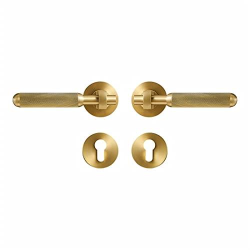 HXiaoF Brass Door Lever Set Light Luxury Interior Bedroom Bathroom Double Wood Door Lock Set Dummy Handle Knob (Size : 50MM-A Passage SB-85MM)