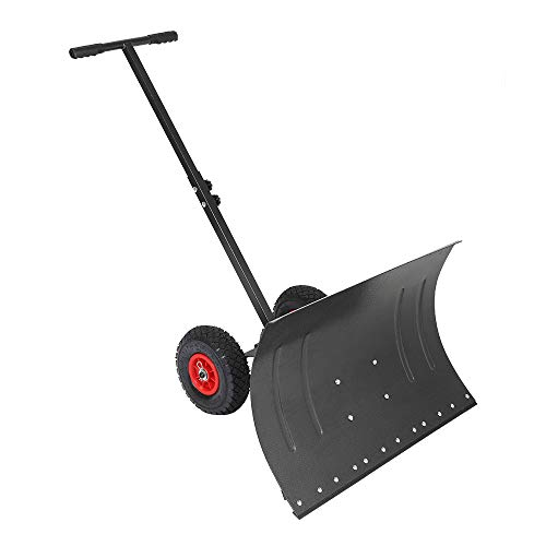 TUFFIOM Wheeled Snow Shovel Pusher ,Metal Rolling Removal Tool with Multi-Angle Heavy Duty Large Blade Plow & Height Adjustable Handle for Doorway Driveway or Pavement Clearing