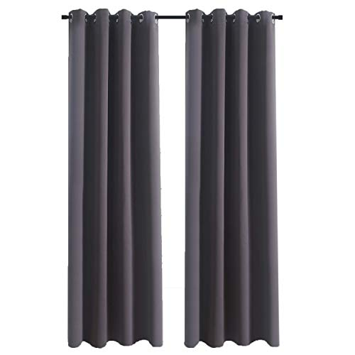 Aquazolax Living Room Blackout Curtains and Drapes Solid Thermal Insulated Grommet Blackout Drapery Panels for Office Window, Set of 2 Panels, W54 x L72 - Inch, Grey