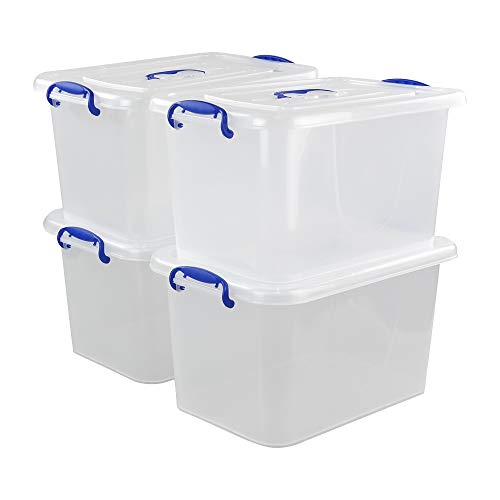 EudokkyNA Clear Plastic Storage Box with Lid Set of 4 Clear Container
