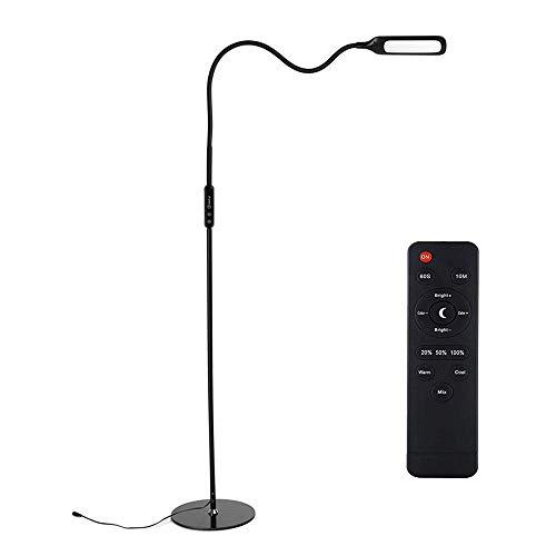 Stehlampe LED Dimmbar, Zanflare 9W 5 Helligkeitsmodi und 5 Farbe Temperaturen Augenschonende 2-in-1 Schreibtischlampe und Stehleuchte LED mit Fernbedienung Touch-Control-Panel Flexiblem Hals