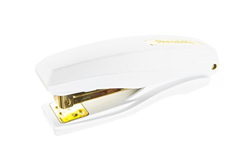 PraxxisPro Basileus Heavy Duty Metal Stapler Value Pack with 25 Sheet Capacity - Includes Staples and Staple Remover - Jam Free Stapler Set for Professional and Home Office Use in White Gold