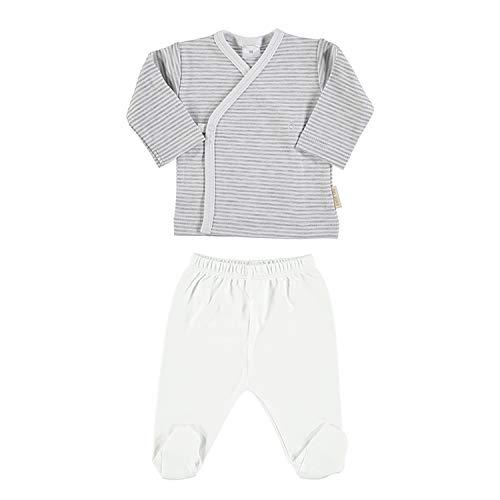 Petit Oh! - Conjunto de bebé 100% algodón Pima Talla 3-6 Meses (Listado Gris + Blanco)