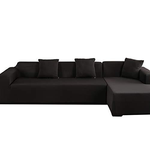 Victool Funda para sofá, poliéster 3 + 2 Asiento Esquina Funda para sofá Funda en Forma de L Funda Protectora para Muebles para el hogar(Negro)