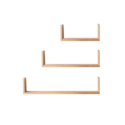 MASP Floating Shelves Wall Shelf,Set of 3 Wall Shelves | Shelving Storage Accessories | Display Shelf | Decorative Office, Bathroom & Bedroom Storage (Color : Wood Color)