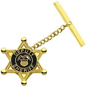 DEPUTY SHERIFF - TIE TAC PIN WITH JELWELERS CLUTCH, CHAIN & BAR, ENAMELED & PLATED, Gold Plating, 3/4
