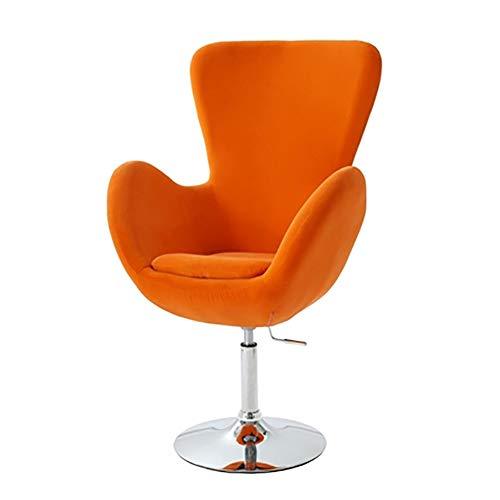 WKLIANGYUANPING Bar Stools Bar Chairs Height Adjustable Modern Round Back Chair Upholstered Swivel Barrel Chair Vanity Chair Barstool Lounge Pub (Color : Orange)