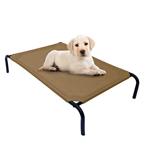 PHYEX Heavy Duty Steel-Framed Portable Elevated Pet Bed, Elevated Cooling Pet Cot, 33' L x 19' W x 7.5' H(S, Brown)